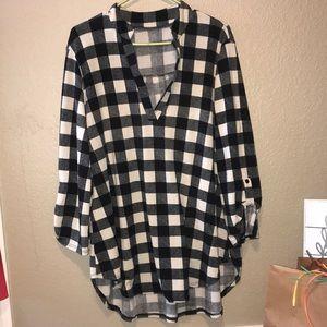 Tops - black flannel cardigan/shirt